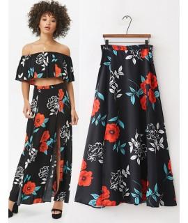 Black Flower Pattern Design Simple Skirt