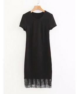 Black Round Neckline Design Pure Color Dress