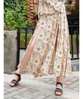 Beige Star Shape Pattern Decorated Skirt