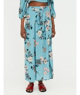 Blue Flower Pattern Decorated Dress