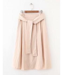 Beige Pure Color Design A-line Skirt