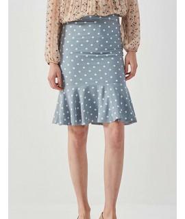 Blue Dots Pattern Decorated Dress