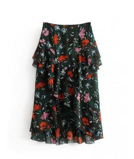 Black Flower Pattern Decorated Skirt