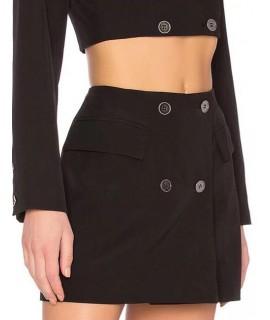 Black Pure Color Design High-waist Skirt