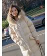 Beige Pure Color Decorated Coat
