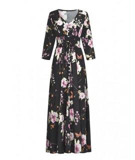 Black Flower Pattern Decorated Dress