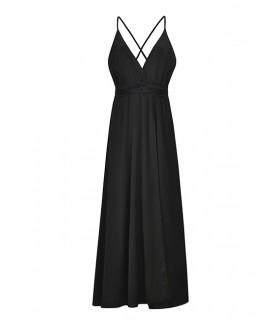 Black Pure Color Decorated V Neckline Dress