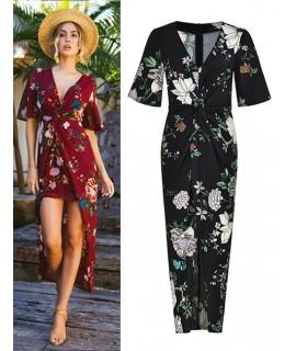 Black Flower Pattern Decorated V Neckline Dress