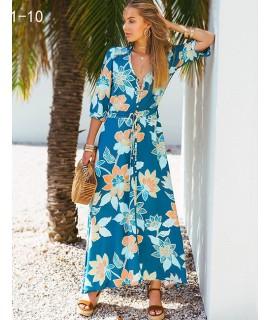 Blue+white Flower Pattern Decorated Dress