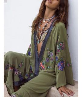 Green Flower Pattern Decorated Dress
