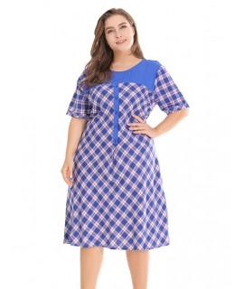 Blue Grid Pattern Decorated Dress