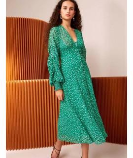 Green V Neckline Design Long Sleeves Dress