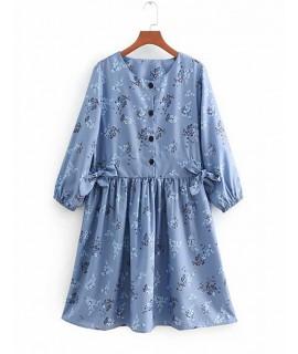 Blue Round Neckline Design Long Sleeves Dress