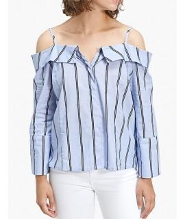 Dark Blue Stripe Pattern Design Long Sleeves Shirt