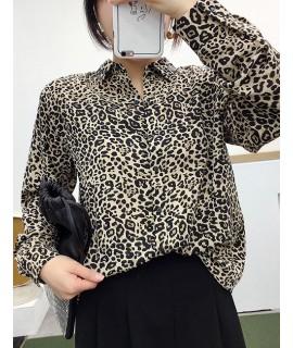 Beige Leopard Payttern Decorated Shirt