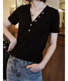 Black V Neckline Design Pure Color T -shirt