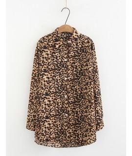 Khaki Leopard Pattern Decorated Shirt