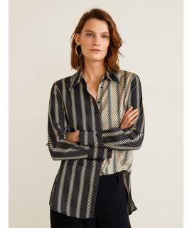 Gray Stripe Pattern Decorated Shirt